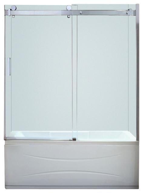 Frameless Sliding Tub Shower Doors judy frameless sliding trackless tub/shower door, chrome, clear