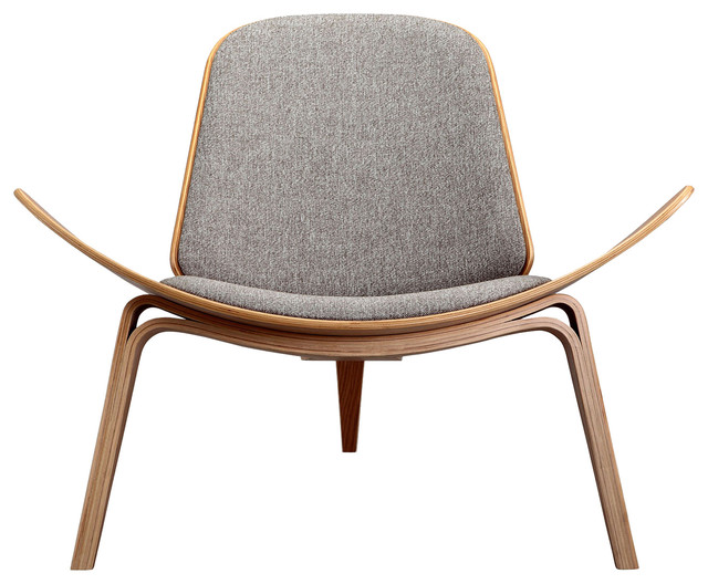 Kardiel Tripod Plywood Modern Lounge Chair, Urban Pebble Twill, Oak  armchairs-and-