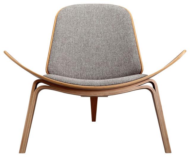 Charmant Tripod Plywood Modern Lounge Chair, Urban Pebble, Oak
