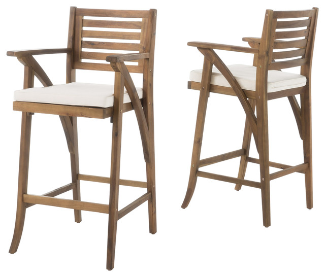 anguilla teak finish acacia wood outdoor barstools set of 2 outdoorbar