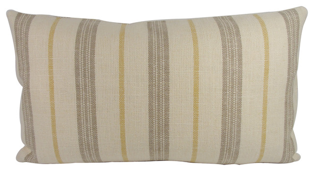 Neutral Linen Taupe Stripe Lumbar Throw Pillow With Feather Down Insert - Transitional ...