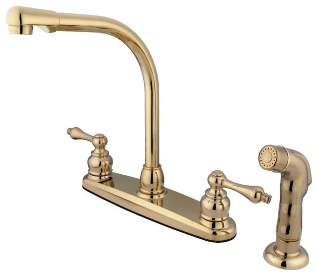 Kingston Brass Centerset Kitchen Faucet, Polished Brass