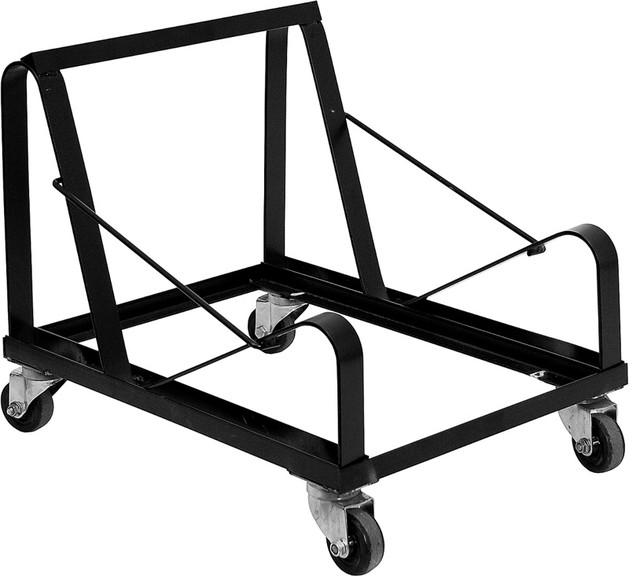 Hercules Series Black Steel Sled Base Stack Chair Dolly.