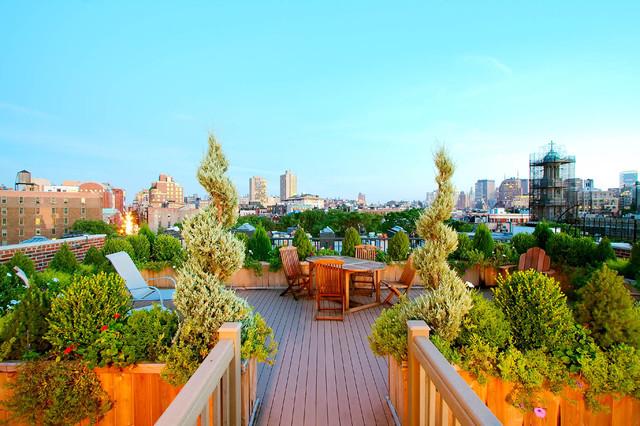 NYC Roof Garden: Terrace Composite Deck, Planter Boxes, Container Garden, Plants traditional-deck