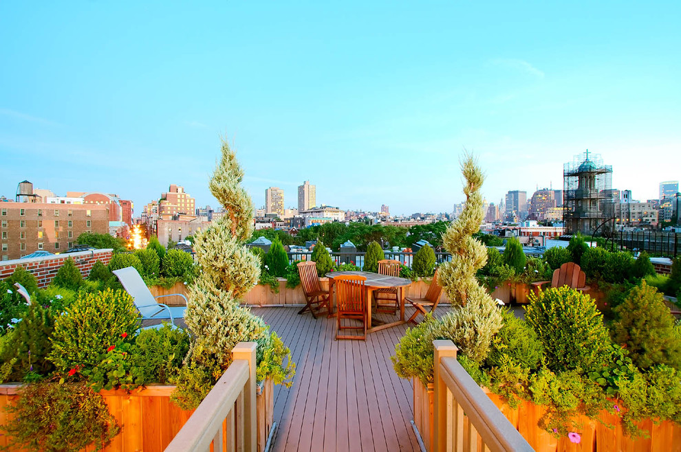 Example of a large classic rooftop rooftop deck container garden design in New York with no cover