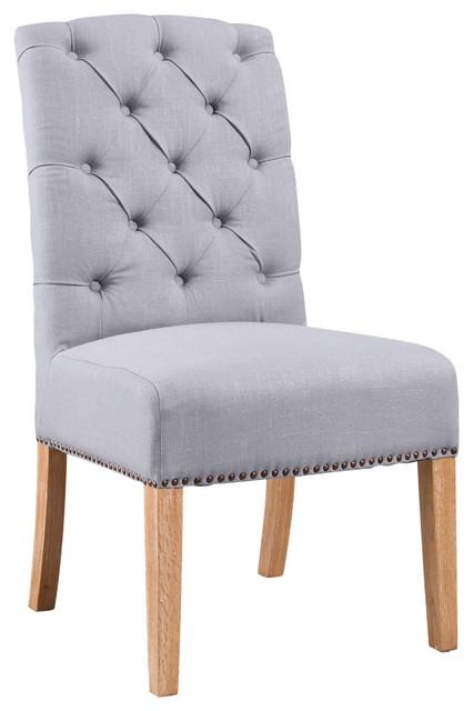 Kyrra Linen Parsons Dining Chair, Light Blue.
