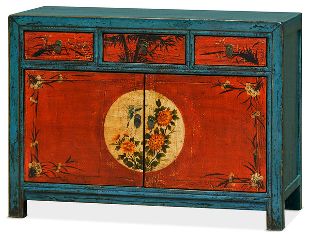 Distressed Blue And Red Chinese Cabinet With Floral Paintings Asian  Accent Chests And