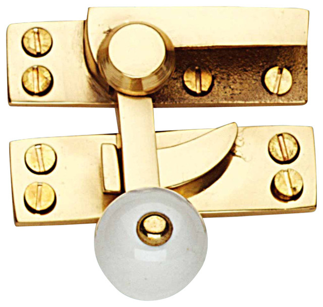 Traditional Window Sash Lock Solid Brass Porcelain Knob ...
