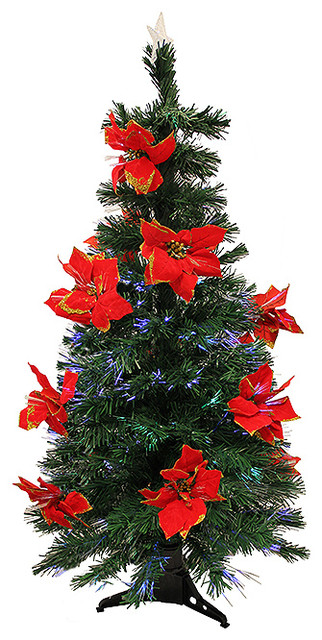 Pre Lit Fiber Optic Artificial Christmas Tree With Red