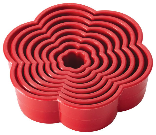 Cake Boss  Tools 8-Piece Nylon Daisy Fondant And Cookie Cutter Set, Red.