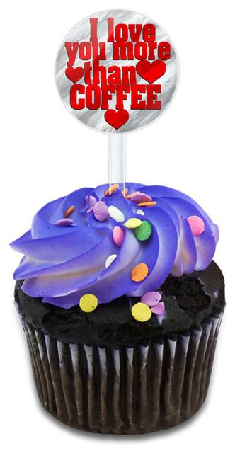 I Love You More Than Coffee Cupcake Toppers Picks Set.
