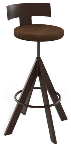 Adjustable Swivel Stool With Upholstered Seat