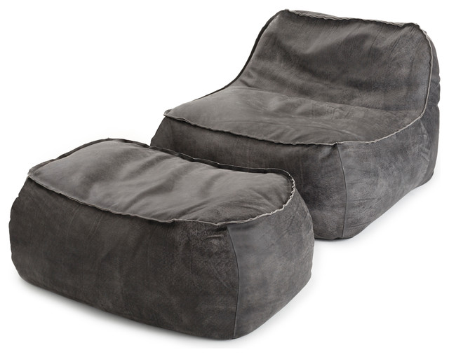 Lounge Chair And Ottoman In Charcoal Leather Contemporary Bean Bag Chairs