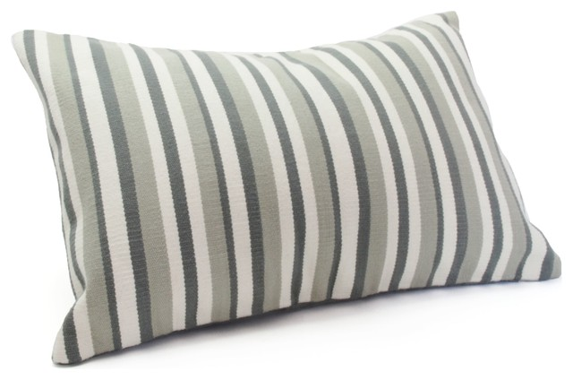 "Narrow Grey Stripe Woven 12""x18"" Pillow Cover With Insert."