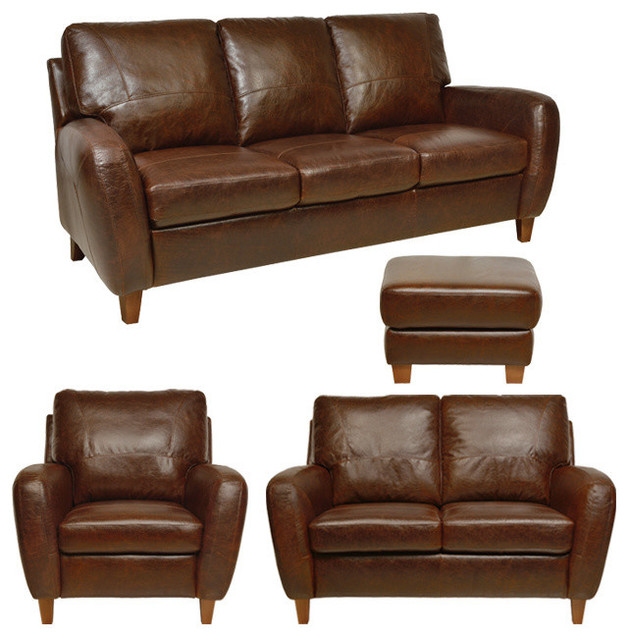 Traditional Sofas Living Room Furniture: Genuine Italian Leather Sofa, Loveseat, Chair & Ottoman In
