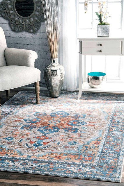 "Persian Medallion Caterina Area Rug, Rectangle, Gray, 5&x27;3""x7&x27;7""."