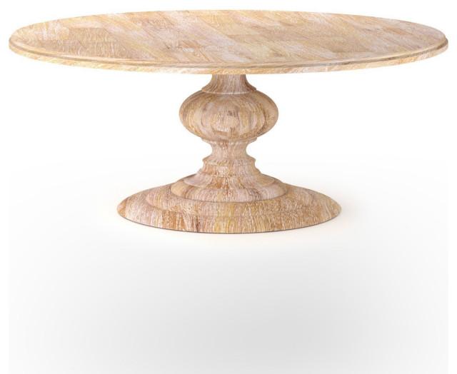 Sebastian Round Dining Table Whitewash, Whitewashed Round Dining Table