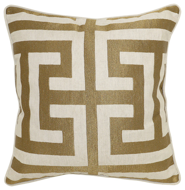 "Carly Embroidered 22"" Throw Pillow By Kosas Home, Bronze."