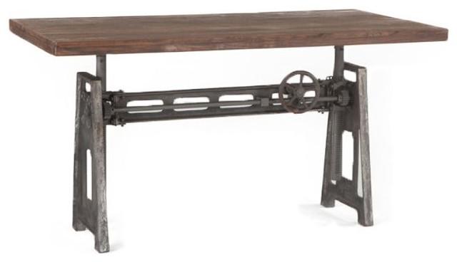 Industrial Steel Crank Adjustable Desk.