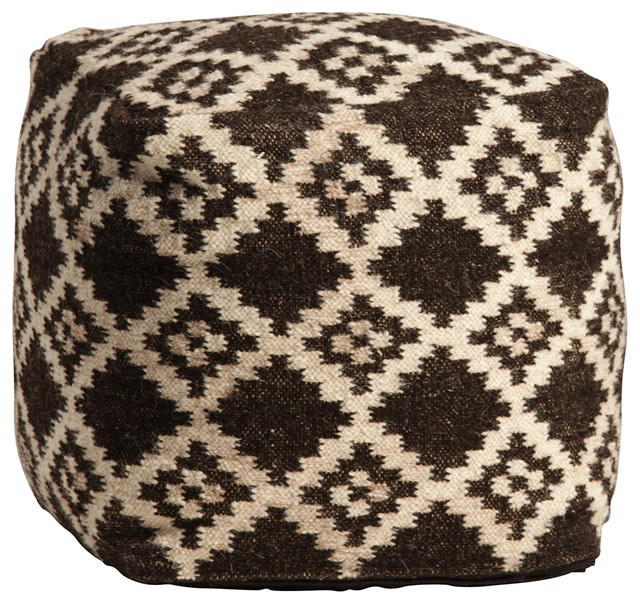 Hand-Woven Wool Pouf - Southwestern - Floor Pillows And Poufs - by Design Mix Furniture
