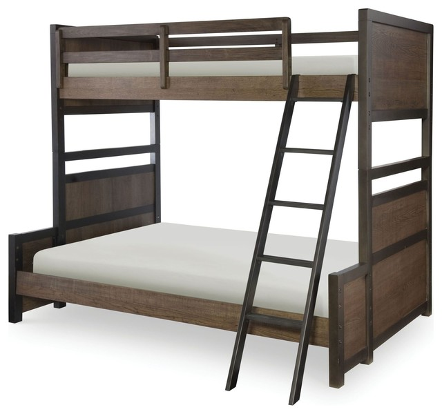 Fulton County Bunk Bed, Tawny Brown, Twin-Over-Full, Without Storage Drawers.