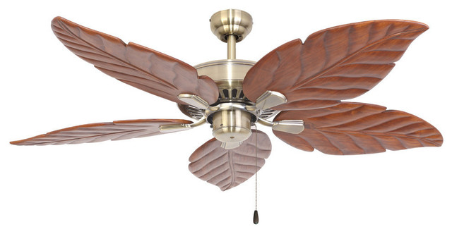 "52"" Punta Cana Aged Brass Indoor Ceiling Fan With Remote Control."