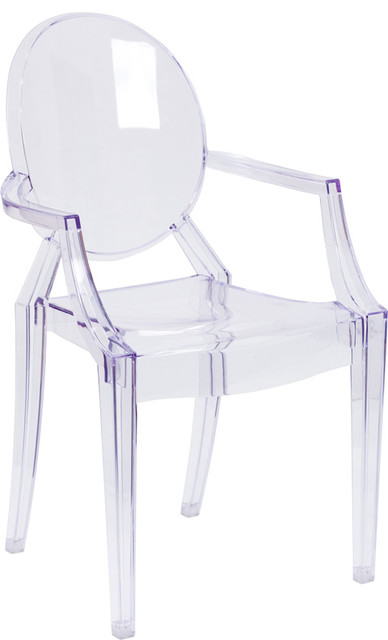 ghost chair with arms in transparent crystal chairs