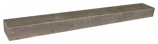 Rustic Floating Fireplace Mantel, 4x7, Weathered Wood, 60.