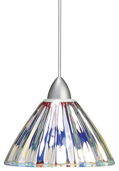 Eden 1 Light Pendant, Multi Color, Brushed Nickel.
