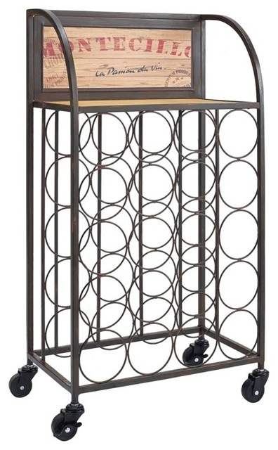 Wood And Metal Wine Rack With Wheels, 20w X 14.25d X 31.25h, Black, Brown.