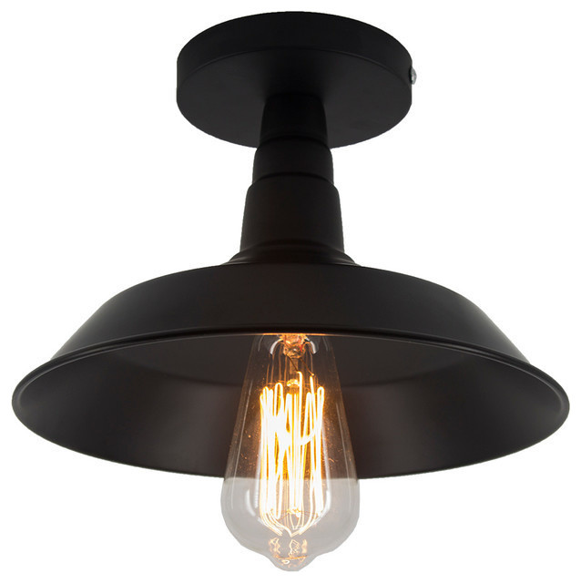 1 Light Semi Flush Mount Black Farmhouse