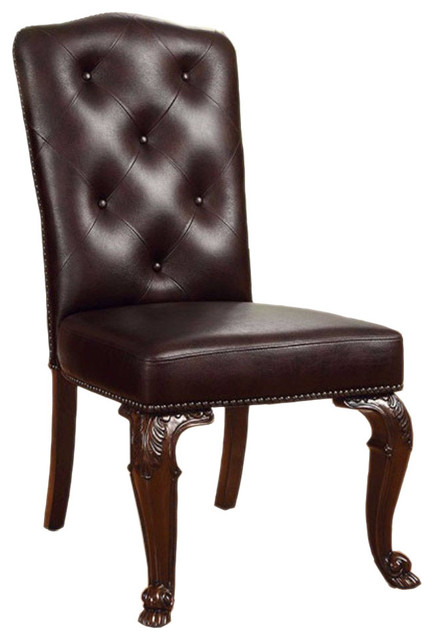 Bellagio Bm131228 Side Chairs With Leather Upholstery, Brown Cherry, Set Of 2.