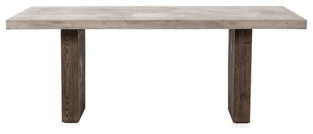 Modrest Rime Modern Concrete and Oak Dining Table