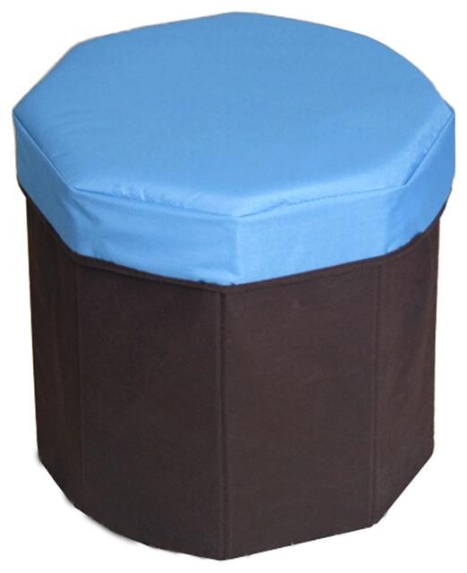 Magnificent Storage Ottoman Collapsible Foldable Kids Round Blue Machost Co Dining Chair Design Ideas Machostcouk