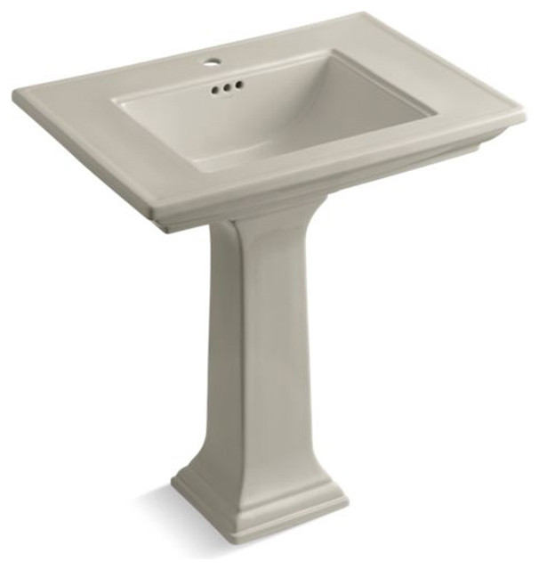 "Kohler Memoirs Stately 30"" Pedestal Bathroom Sink, Single Faucet Hole, Sandbar"