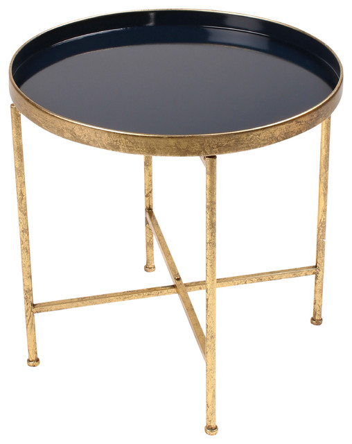 Deliah Round 2 Tone Foldable Tray Accent Table, Gold And Navy Contemporary  Side