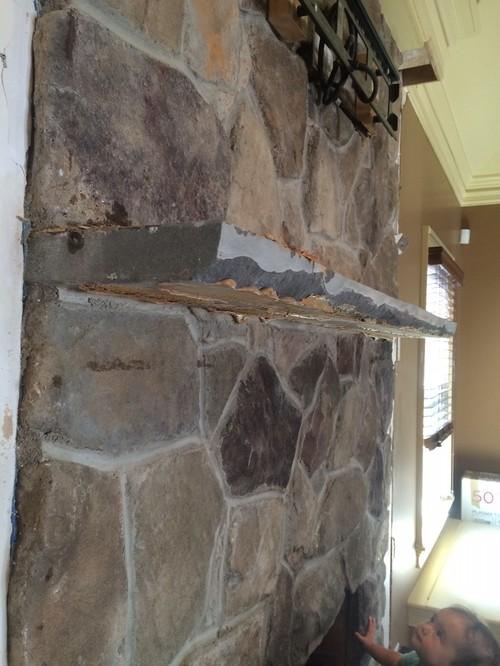 Removing stone mantel shelf