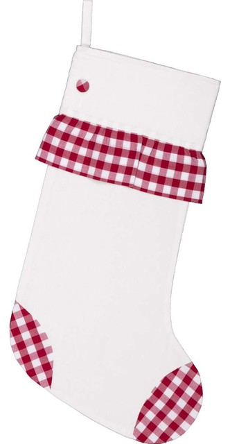 "Emmie Red Check Ruffle 20""x12"" Stocking"