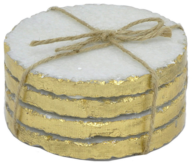 Three Hands Marble Coaster Set Of 4 Golden Edges