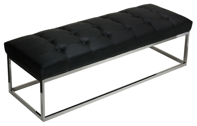 Biago Contemporary Oversized Tufted Long Bench, Black Leather Like Vinyl.