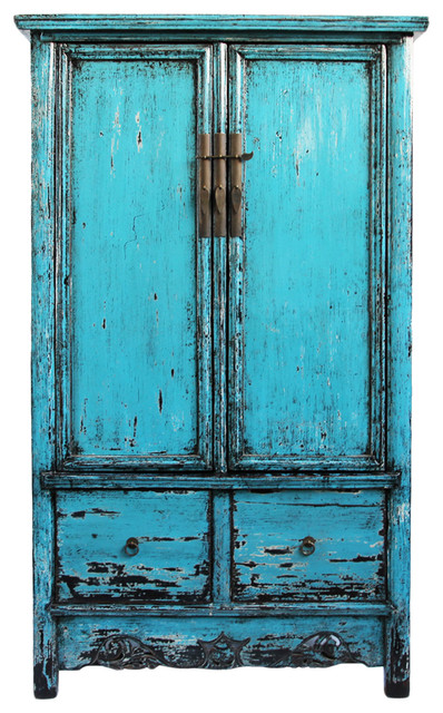 Consigned Blue Lacquer Armoire Asian Armoires And