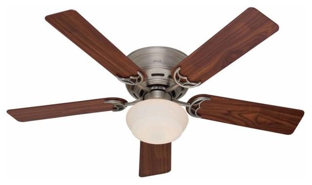 "Hunter Low Profile Plus 52"" Flush Mount Indoor Ceiling Fan, Antique Pewter."