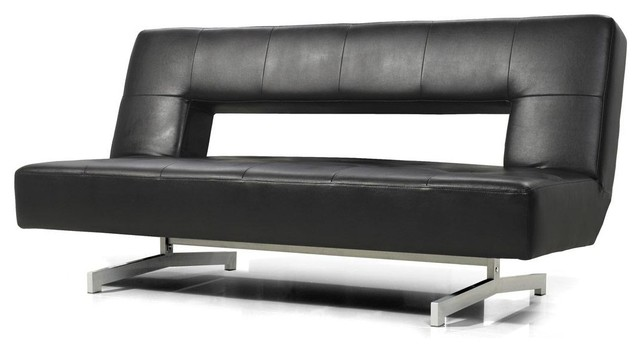 Black Eco Leather Sofa Bed   Modern   Futons   by New York