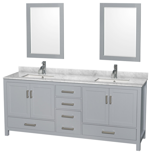Sheffield 80 Gray Double Vanity, Mirrors White Carrera Marble Undermount Square.