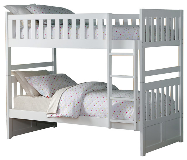 Carissa Twin Over Twin Bunk Bed White Contemporary Bunk Beds By Lexicon Home