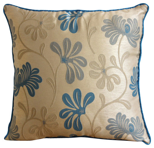 The HomeCentric - Teal Florals, Blue Jacquard Weave Throw Pillows Cover & Reviews Houzz
