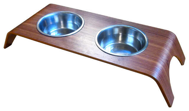 Walnut Elevated Pet Feeder Stand Double Contemporary Pet Bowls And Feeding By Bowhausnyc