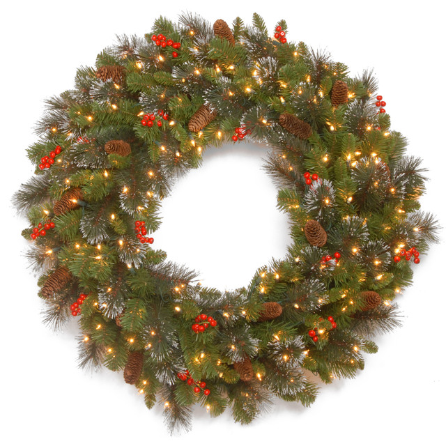 36 Crestwood Spruce Wreath With Clear Lights.