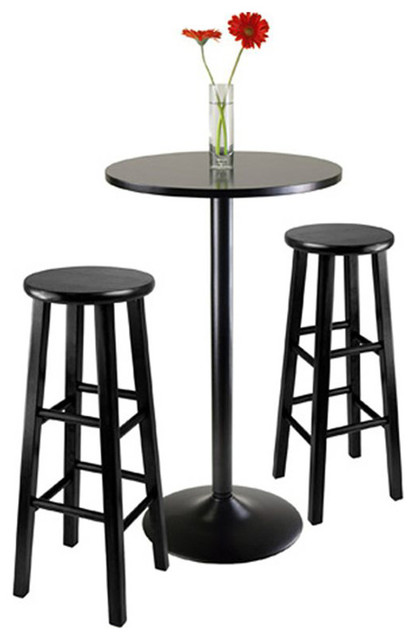 Winsome Obsidian 3 Piece Pub Table With Stools Black
