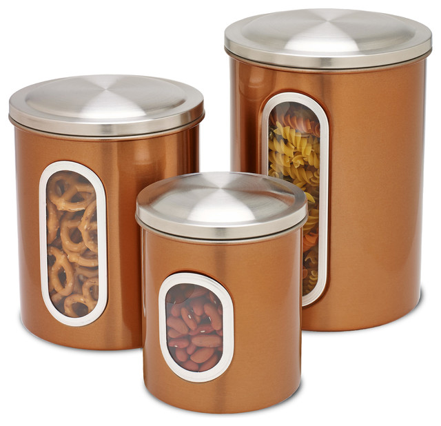 Metal Storage Canisters, Copper, 3 Piece Kitchen Canisters And Jars